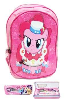 harga BGC My Little Pony 3D Timbul Bahan Saten Berkualitas Tas Ransel Anak Sekolah TK + Kotak Pensil + Alat Tulis - Pinkie Pie Lazada.co.id