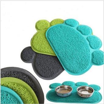 Cute Paw Shape Pets Feet Mat Placemat PVC Radiating Dog Cats Sleeping Feeding Pads (Dark Blue) - Intl
