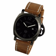 INFANTRY Mens Date Analog Wrist Watch Army Military Tactical Pilot Brown Leather