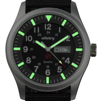 INFANTRY Mens Date Day Analog Wrist Watch Night Vision Military Sport Black Nylon