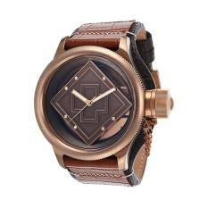 Invicta Russian Diver Men 52mm Case Black, Brown Leather Strap Rose Gold Dial Quartz Watch 16062