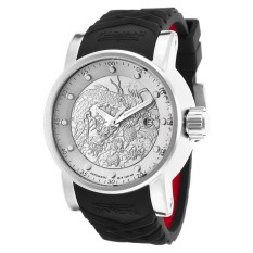 Invicta S1 Rally Men 48mm Case Black, Red Silicone Strap Antique Silver Dial Automatic Watch 15862 (Intl)
