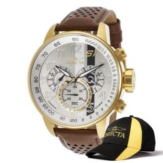 Invicta S1 Rally Men 48mm Case Gold, Brown Leather Strap Silver Dial Quartz Watch 19287 & Baseball Cap Hat