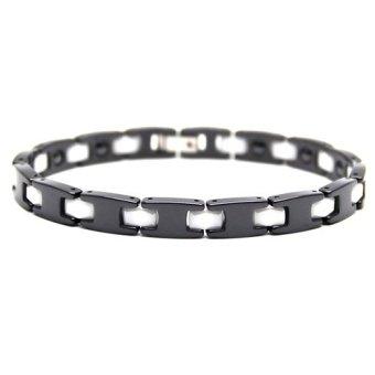 Istana Accessories Gelang David Black White Stripe Stainless Steel Ceramic Magnetic Bracelet - Gelang Kesehatan (One Size)