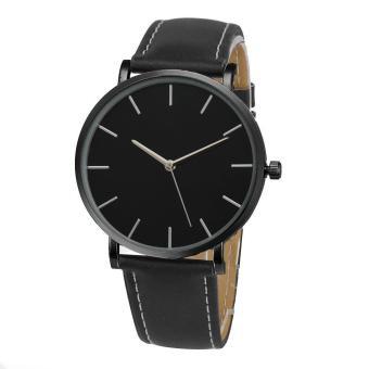 Jam Quartz pria wanita terkenal merek jam tangan mewah Emas kulit Band (Black)