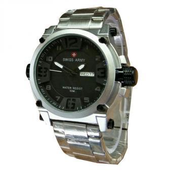 Jam Tangan Couple Swiss Army D 7736 Original Warna Silver