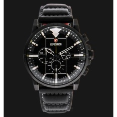Jam Tangan Expedition Man Black Dial Black Leather Strap