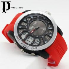 Jam Tangan Pria Sporty Police Dual Time Strap Rubber Red