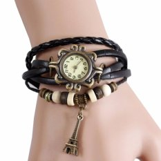 Jam Tangan Wanita Fashion Leather Strap Lilit Gelang - Hitam