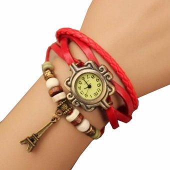 Harga Jam Tangan Wanita Fashion Leather Strap Lilit Gelang - Merah ... 241783ca0d