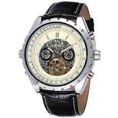 JARAGAR Casual Calendar Skeleton Automatic Mechanical Tourbillon Mens Leather Strap Watch