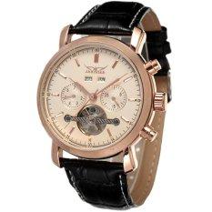 JARAGAR Luxury Automatic Mechanical Tourbillon Calendar Men Black Leather Strap Watch Rose Gold (Intl)