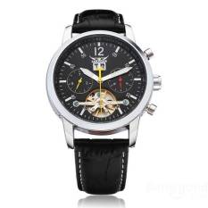 JARAGAR Mechanical Automatic Tourbillon 3 Dial Black Men Watch (Intl)