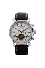 JARGAR J034 Multi-functional Men's Boys Round Dial Automatic Mechanial Wrist Watch with Date / Week / PU Band White