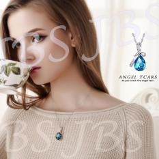 JBS Luxury Antique Big Austrian Rhinestone Sapphire Pendant Crystal Jewelry Natural Blue Stone Heart Necklaces Women