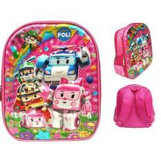 JCF Robocar Poli Amber Pink 6 Dimensi Timbul Import Tas Ransel Anak Sekolah TK