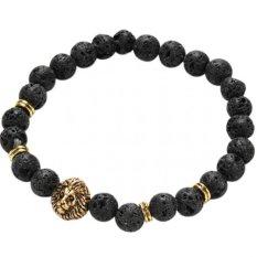 Jetting Buy Lava Rock Bracelet Silver Lion Head Men's Beaded Natural Stone Golden