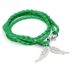 Jewelry Fashion Retro Style Leather Cute Infinity Charm Bracelet Bangle Gift Green - Intl