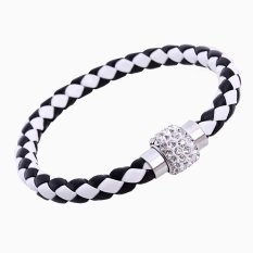 Jewelry Fashion Simple Design Handmade Rhinestone Polymer Clay Bead Pendant Friendship Black and White Leather Woven Bracelet For Women and Men (Intl)