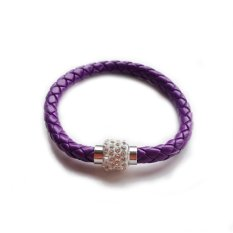Jewelry Fashion Simple Design Handmade Rhinestone Polymer Clay Bead Pendant Friendship Purple Leather Woven Bracelet For Women and Men (Intl)