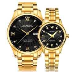 Jiage Sander (SANGDO) Full Automatic Mechanical Watch Full Gold Waterproof Fashion Lovers Watch A Pair Of LN3118-DB All Gold Gold Face Table (Couple Watch)