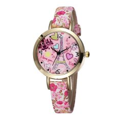 JIANGYUYAN NEW Butterfly Flower Printed Women New Brand Wristwatches Leather Strap Fashion Casual Watch Analog Quartz Clock—Flower Band Gold Case L