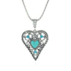 Jiayiqi Hollow Double Of Love Turquoise Crystal Pendant Necklaces (Intl)