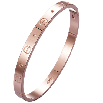 Jiayiqi Women Titanium Bangle Rose Gold Diamond Charm Bracelet