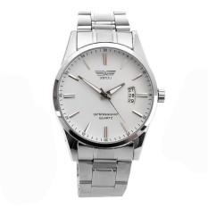JinGle Men's Stainless Band Analog Wrist Watch (White)