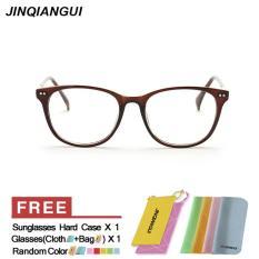 JINQIANGUI Kacamata Bingkai wanita Oval Eyeglasses Coklat Hapus Lens Fashion