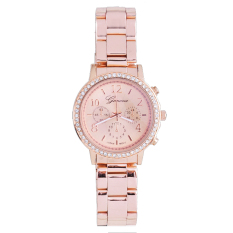 GE Bling Crystal Women Girl Stainless Steel Quartz Wrist Watch 3 Colors (Gold)