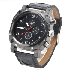 Jo.In Classic Synthetic Leather Band Strap Man's Men's Quartz Wrist Watch Sport Army (Black)