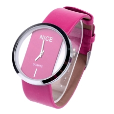 Jo.In Fashion Cool Women Synthetic Leather Transparent Dial Lady Wrist Watch - Intl