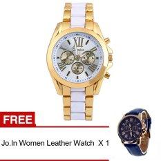 GE Menswear Quartz Full Steel Watch Women Watches Casual Dress Ladies Wrist Watch Gold Dial Alloy Watch (White)