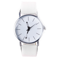 Jo.In Men's Women's Analog Quartz Black Synthetic Leather Band Wrist Watch (White)