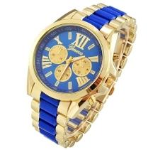 GE Menswear Quartz Full Steel Watch Women Watches Casual Dress Ladies Wrist Watch Gold Dial Alloy Watch (Black) (Intl)