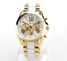 GE Menswear Quartz Full Steel Watch Women Watches Casual Dress Ladies Wrist Watch Gold Dial Alloy Watch (White) (Intl)