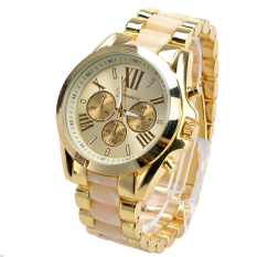 GE Menswear Quartz Full Steel Watch Women Watches Casual Dress Ladies Wrist Watch Gold Dial Alloy Watch (White)