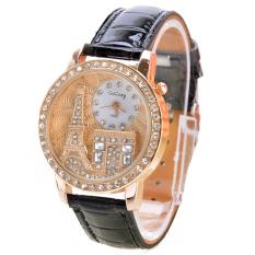 Jo.In Women Rhinestone Watches Crystal Of The Eiffel Tower To Watch Ladies Quartz Wrist Watches (Black) - Intl