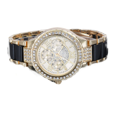 GE Women's Round Bracelet Watch Ladies Gold Silver Designer Crystal (Black)