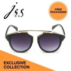 JRS Kacamata Wanita Hitam lengan kacamata Gold Bundar Proteksi UV 400 Lensa Gradient Abu Abu P3409-SD