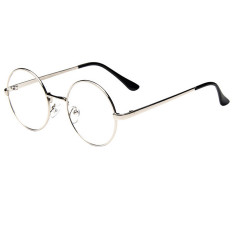 Kacamata bergaya retro dengan frame berbahan logam bulat warna perak dengan  lensa mata yang bening 2b98e81c7e