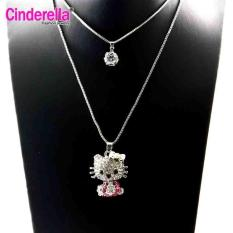 Kalung Rantai Liontin Hello Kitty / Kalung Rantai Double Layer Silver