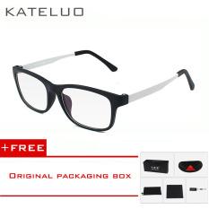 KATELUO TR90 anti-Komputer Biru kelelahan laser radiasi-tahan kacamata kacamata bingkai Oculos di Grau de 9219 (putih) [membeli 1 mendapatkan 1 hadiah]