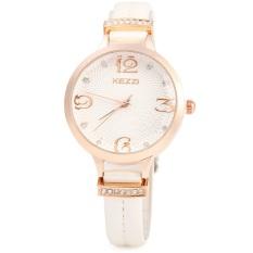 KEZZI 1263 Women Quartz Watch Fashional Analog Wristwatch Leather Band (WHITE)