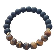 Kimi Jewelry Gelang Batu Natural Matte Onyx & Tiger Eye 8mm / Gelang Pria Wanita - Hitam-Coklat