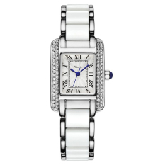 KIMIO Brand Rhinestone Rectangle Case Yellow Gold Watches Women Fashion Rome Ceramic Dress Watch (White) (Intl)