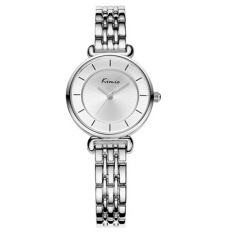 Kimio Rhinestone & Roman Number Small Simple Round Dial Women Quartz Watch with Alloy Band (White) (Intl)