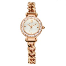 Kimio Women's Gold-Tone Stainless Steel Watch with Link Bracelet Twisted Bracelet Watch, Rose Gold (Intl)