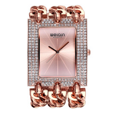 Koklopo Wei Qin Female Table Full Of Diamond Square Dial Watch Fashion Chain